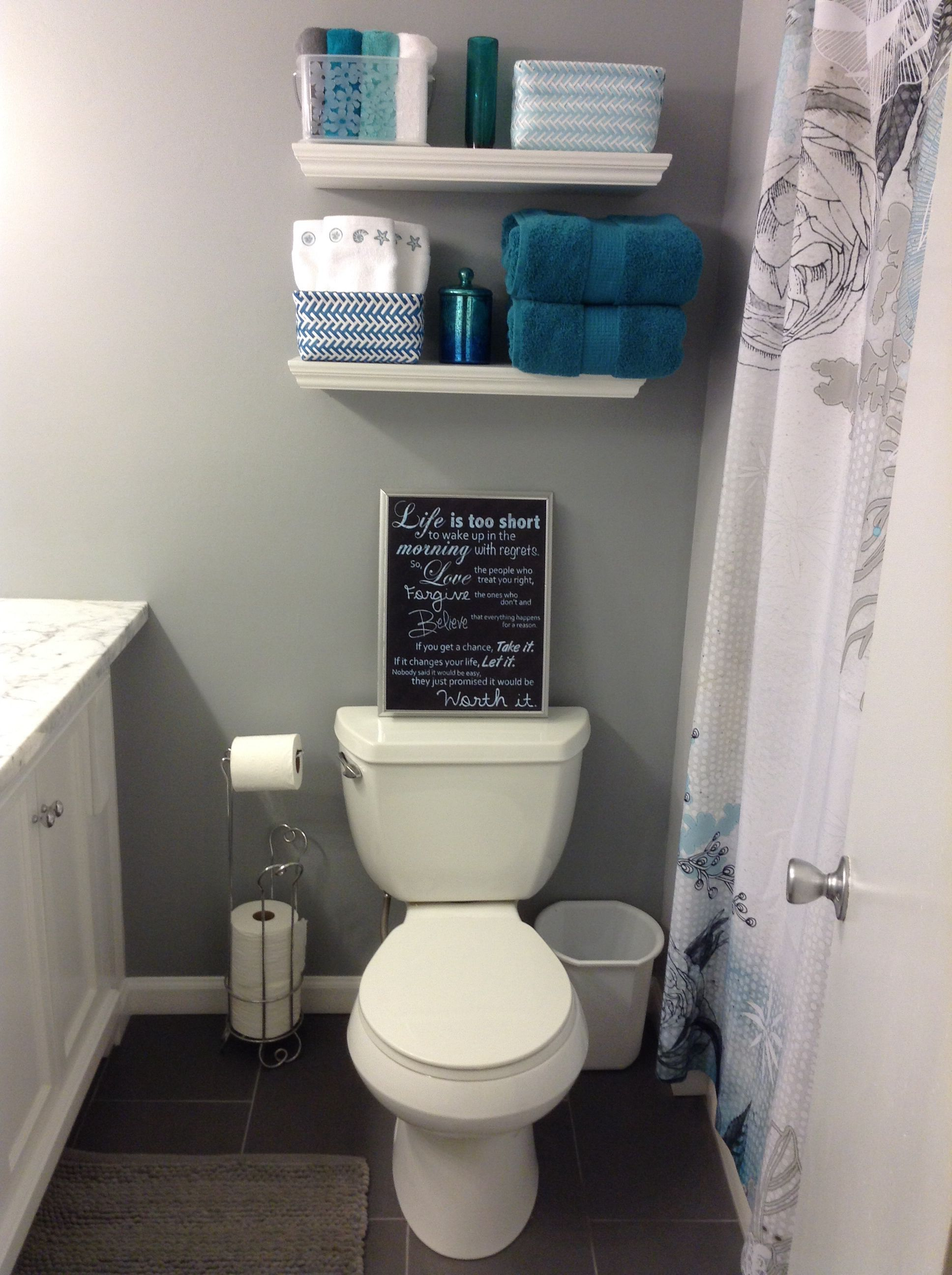 Bathroom Remodel Teal And Grey With Images Teal Bathroom Decor Bathrooms Remodel Grey Bathrooms