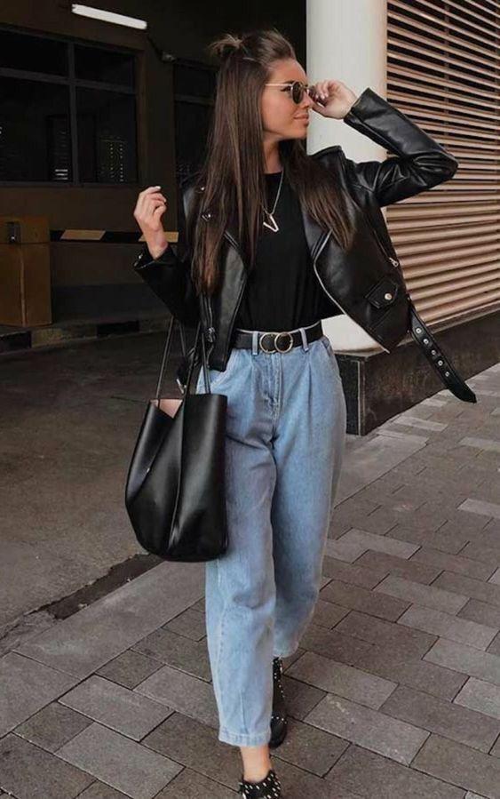 Looks com jaqueta de couro feminina para usar no i