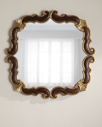 Wood and Brass Scroll Mirror | Woods