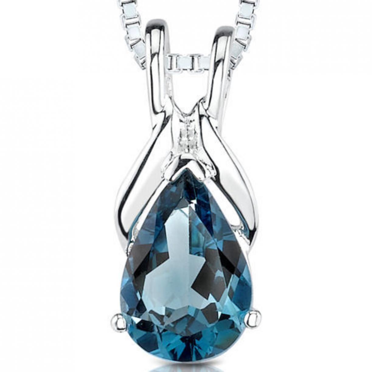 1.50 Cts Pear Shape London Blue Topaz Pendant Style Sp1860
