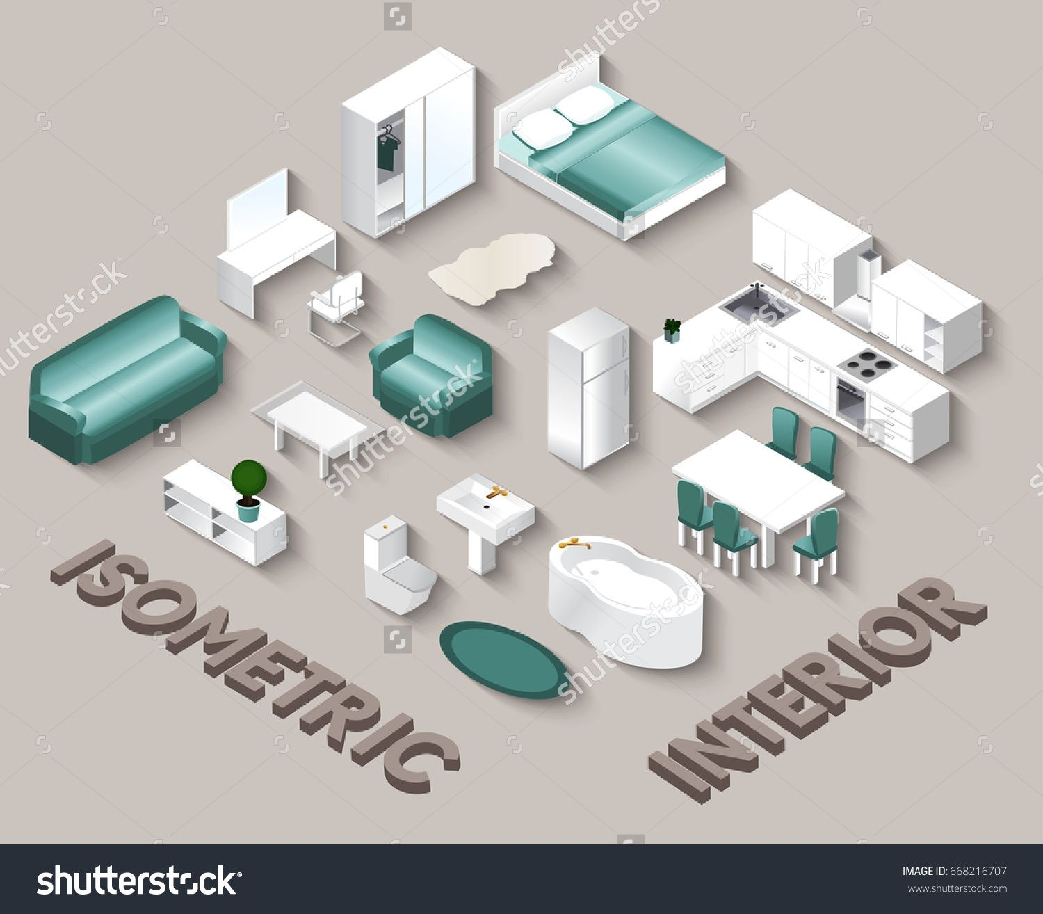 Isometric Interior view. Set of isolated domestic