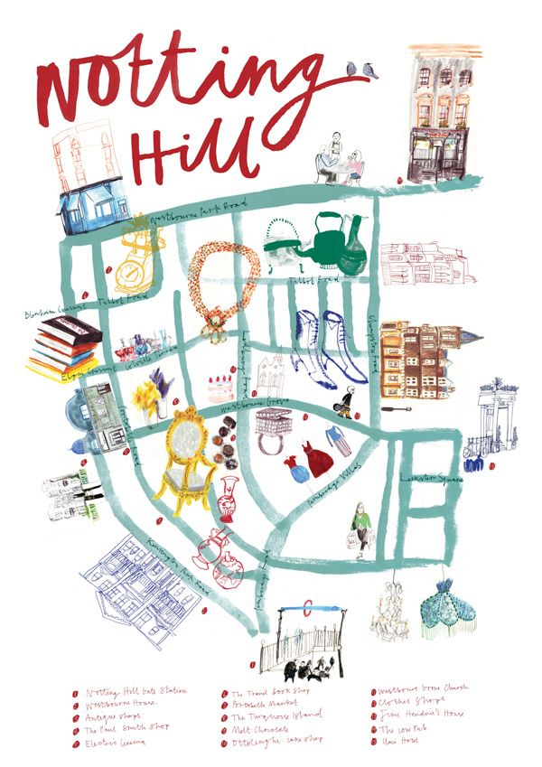Notting Hill London: Notting Hill, London #map #illustration By Ink