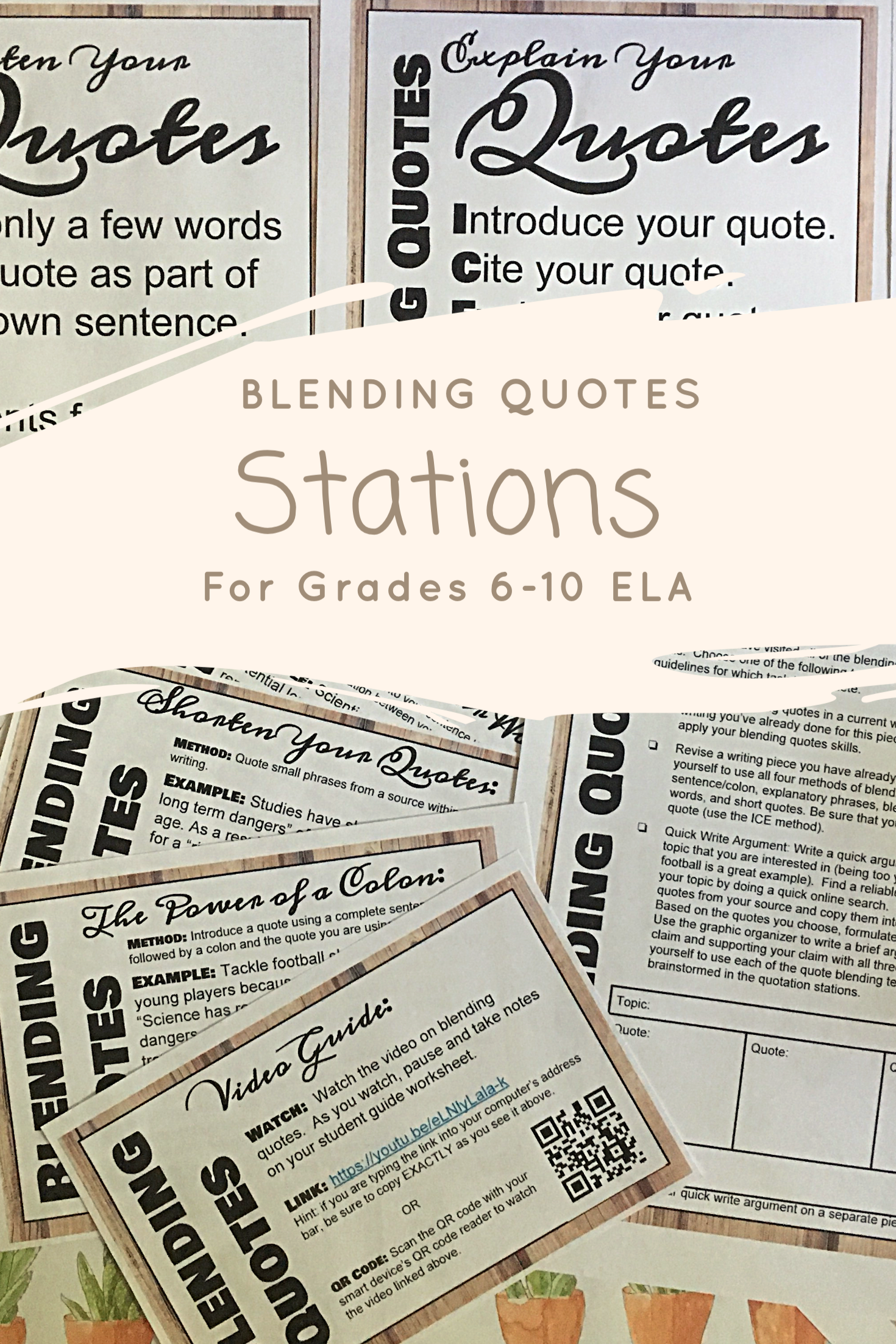 Blending Quotes (Embedding Quotes) Stations for grades 6-10 ELA ...