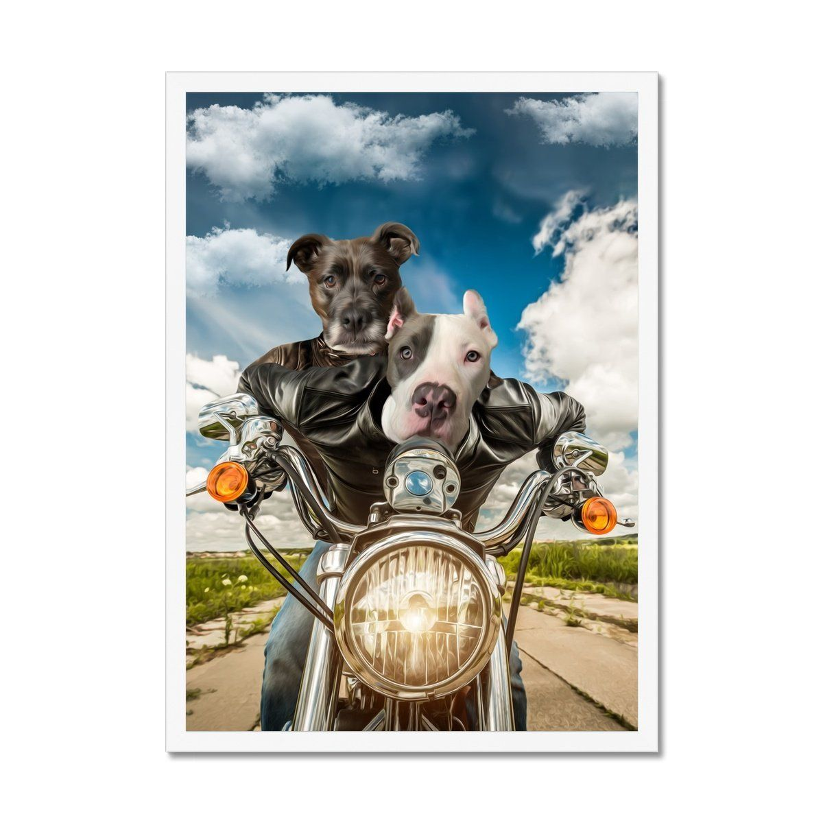 Harley Wooferson: Custom Pet Portrait - A5 / White Frame