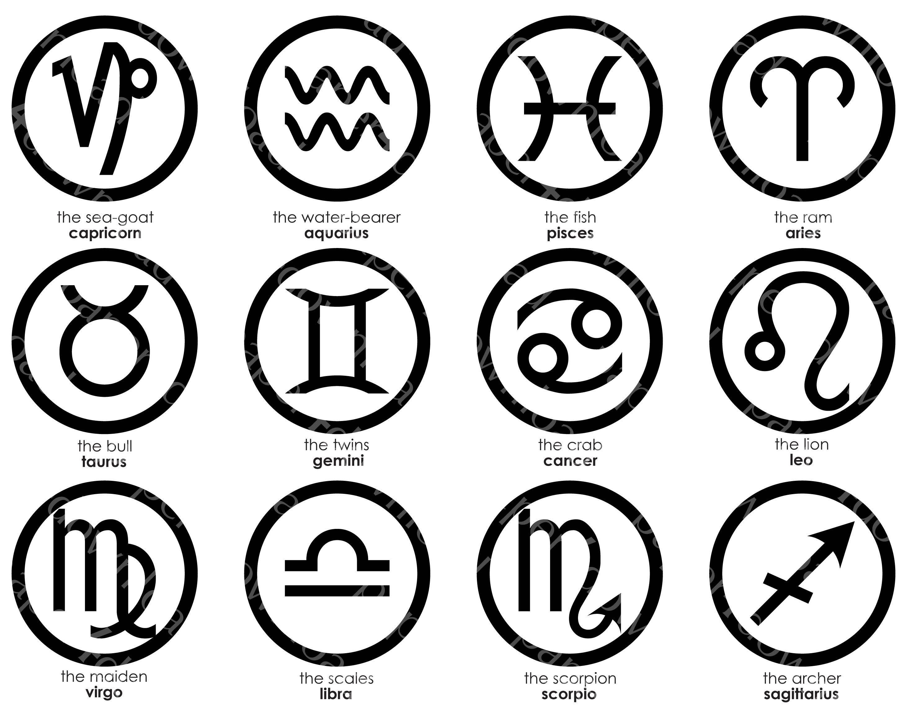 Zodiac Symbols Black On White Medallion Badge Clipart Digital Collage Png Printable Instant Download Zodiac Symbols Clip Art Digital Collage