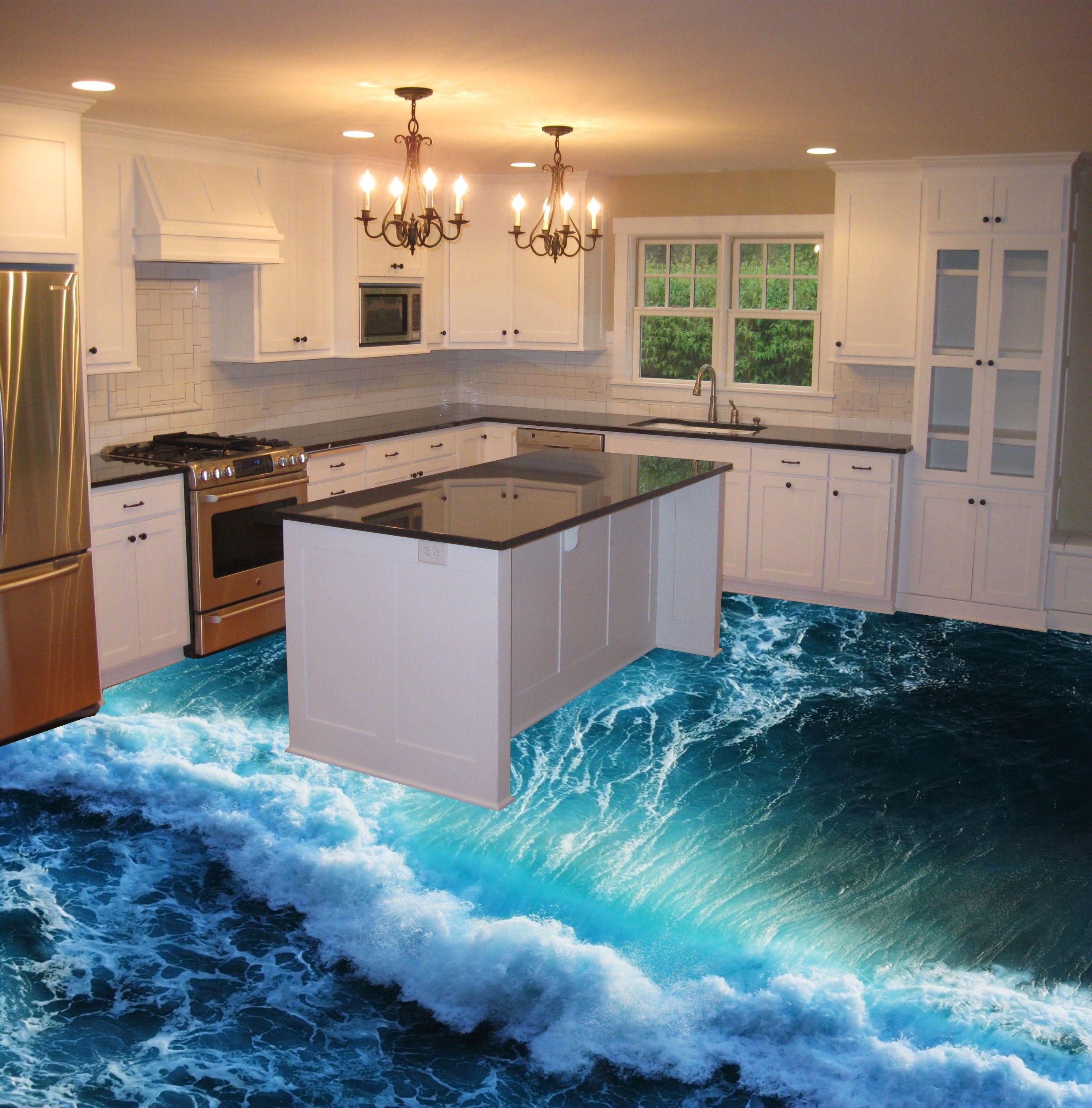 3d Epoxy Flooring For Kitchen Sea Wave Theme Flooring