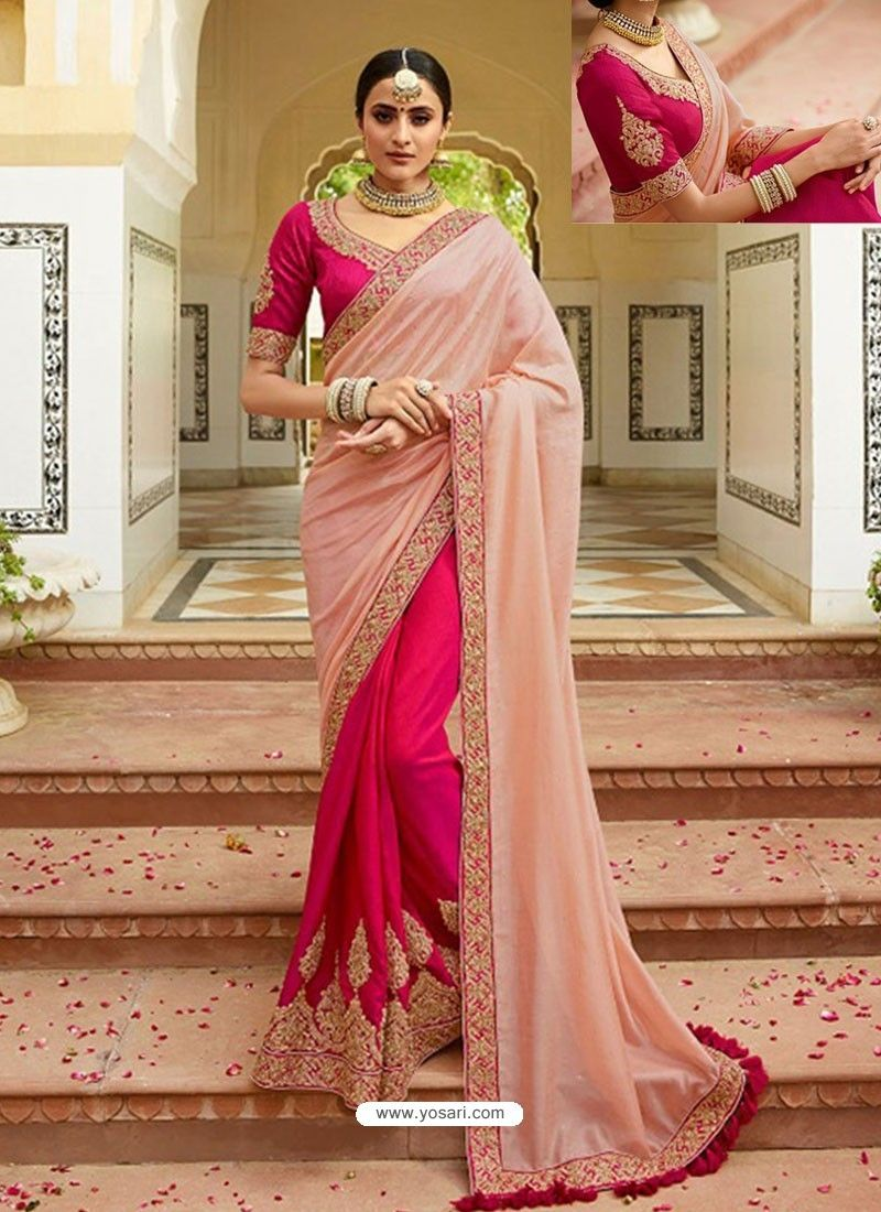 ed4cd9f72bfd9a Pink And Rani Embroidered Net Designer Party Wear Saree in 2019 ...