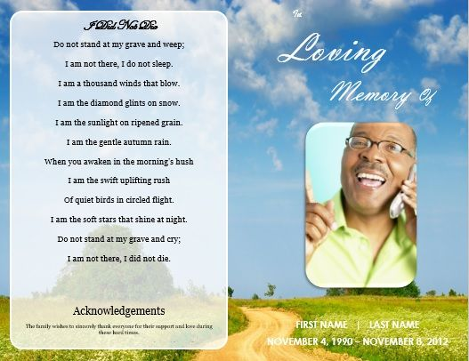 Funeral Service Bulletin Template / DIY Printable Funeral Memorial Program  Card / DIY Funeral Memorial Brochure  Memorial Card Template Word