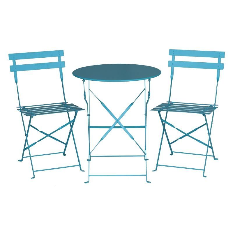 Bolero Pavement Style Chairs in Seaside Blue with Steel Frame Pack of 2