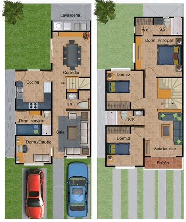 Plano de casa de dos pisos 132 metros cuadrados planos for Casas minimalistas planos