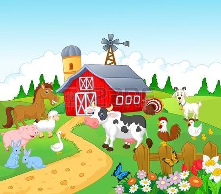 Cartoon Farm background with animals | Farm cartoon, Farm animals  preschool, Farm mural