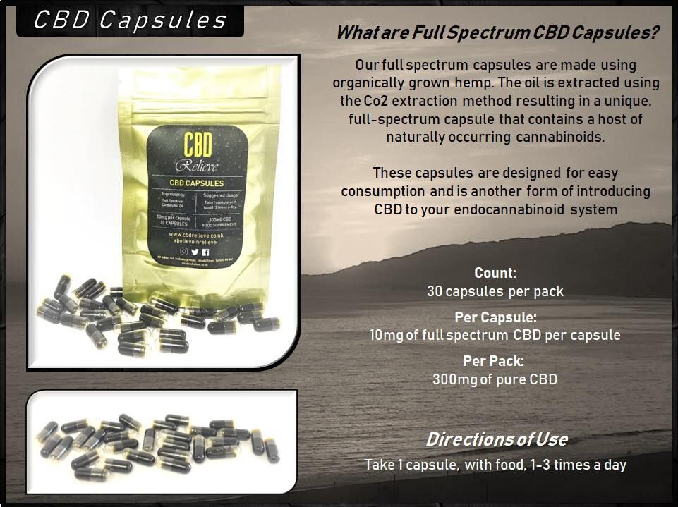 cbd full spectrum capsules 10mg cbd per capsule, 30 in a
