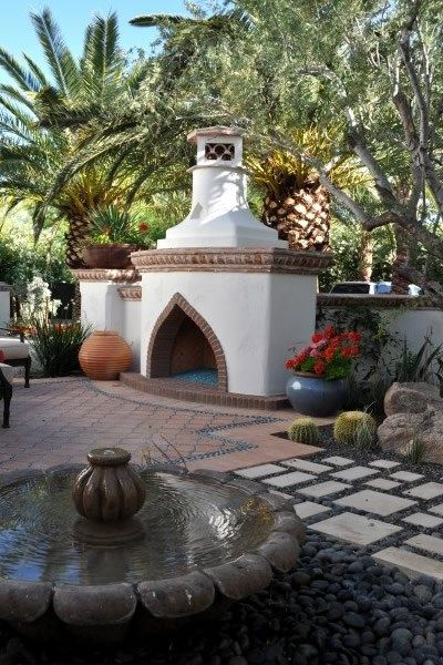 Morrocan Landscaping Outdoor Fireplace Exteriors By Chad Robert Inc
