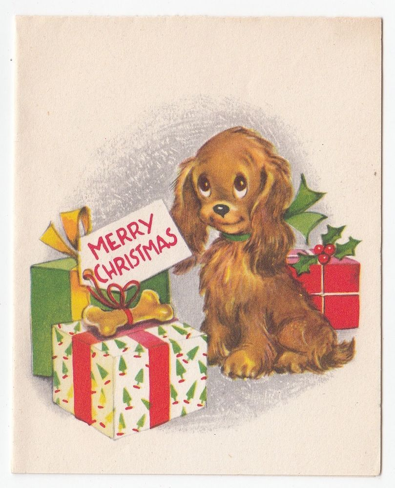 Vintage Greeting Card Christmas Cute Puppy Dog Wrapped