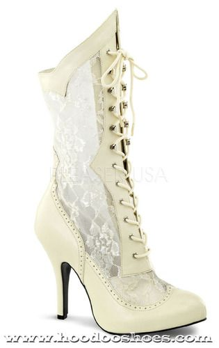 www.hoodooshoes.com  Funtasma Heels Victorian White Boots Costume Shoes- Wide Width