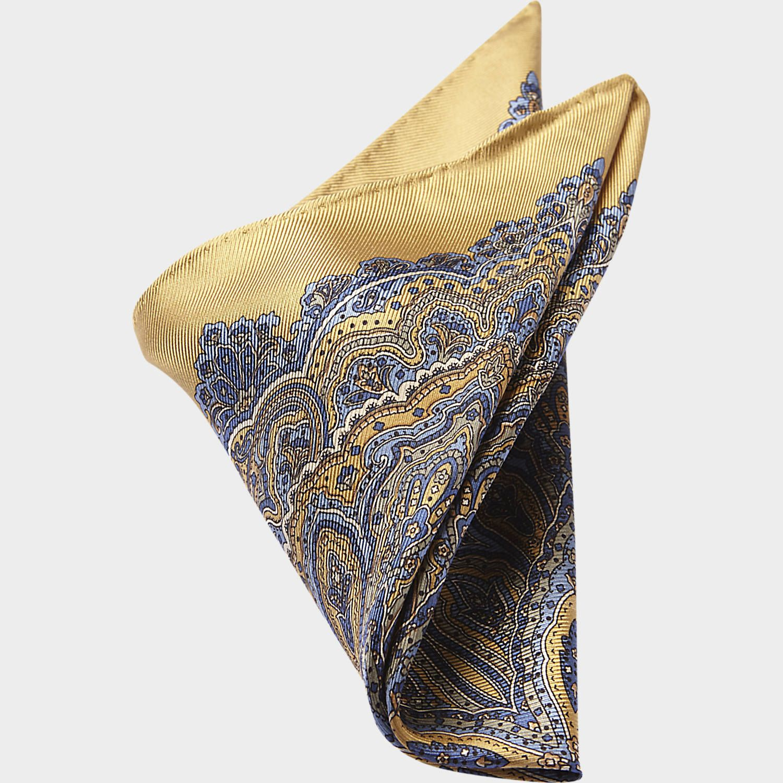 Joseph Abboud Blue & Gold Paisley Pocket Silk - Pocket ...