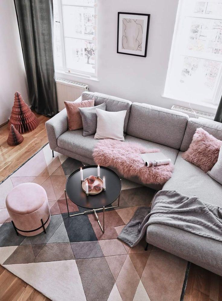 Carpet Pink And Gray Color Scheme Home Decor Living Room Scandinavian Brown Living Room Living Room Decor Apartment