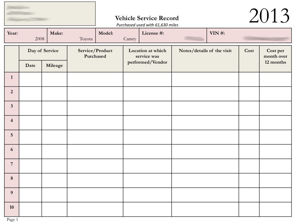 car maintenance tracker