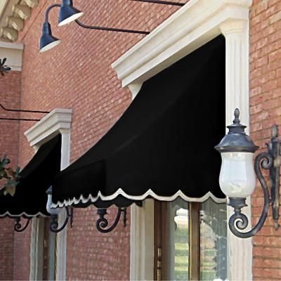 Awntech 16 Ft Nantucket Window Entry Awning 56 In H X 48 In D In Black Nt44 16k The Home Depot Door Awnings Window Awnings Awning
