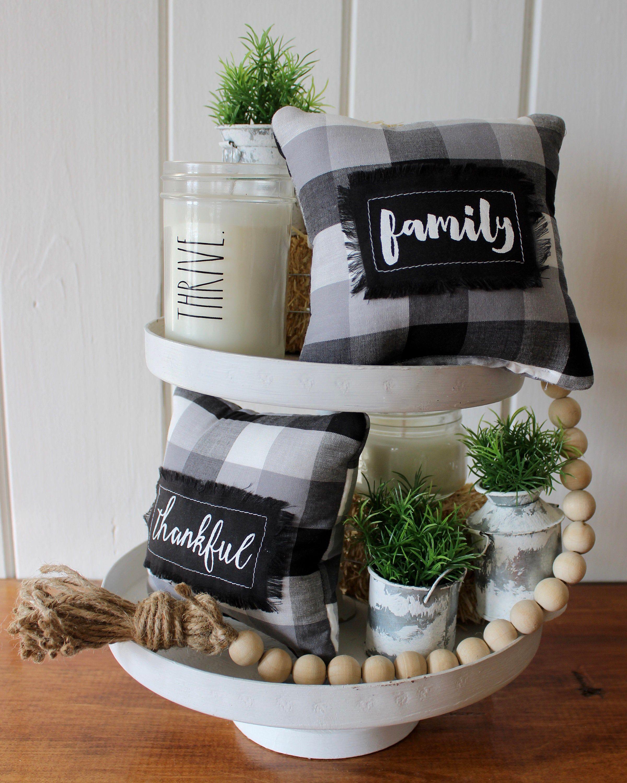 Buffalo plaid mini pillows farmhouse tiered tray decor
