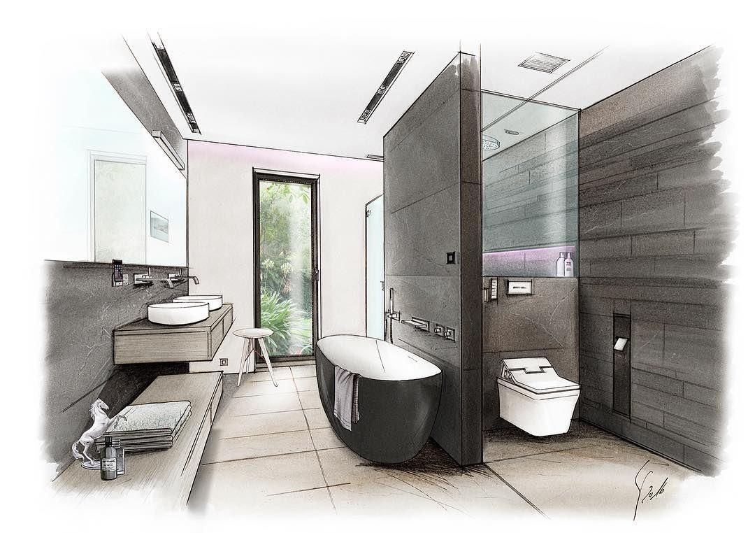 Pin By Lorena Brazeiro On Bathroom Interior Design Drawings Interior Design Sketches Interior Architecture Drawing