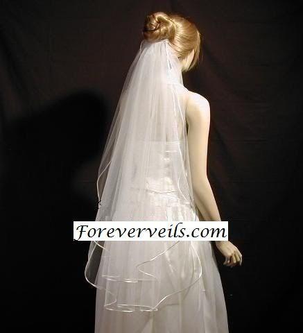 Fingertip Wedding Veil 2 Tier Ivory White Or Diamond Bridal Gown Satin Edge