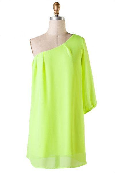 C'mon Get Happy One Shoulder Dress - Chartreuse