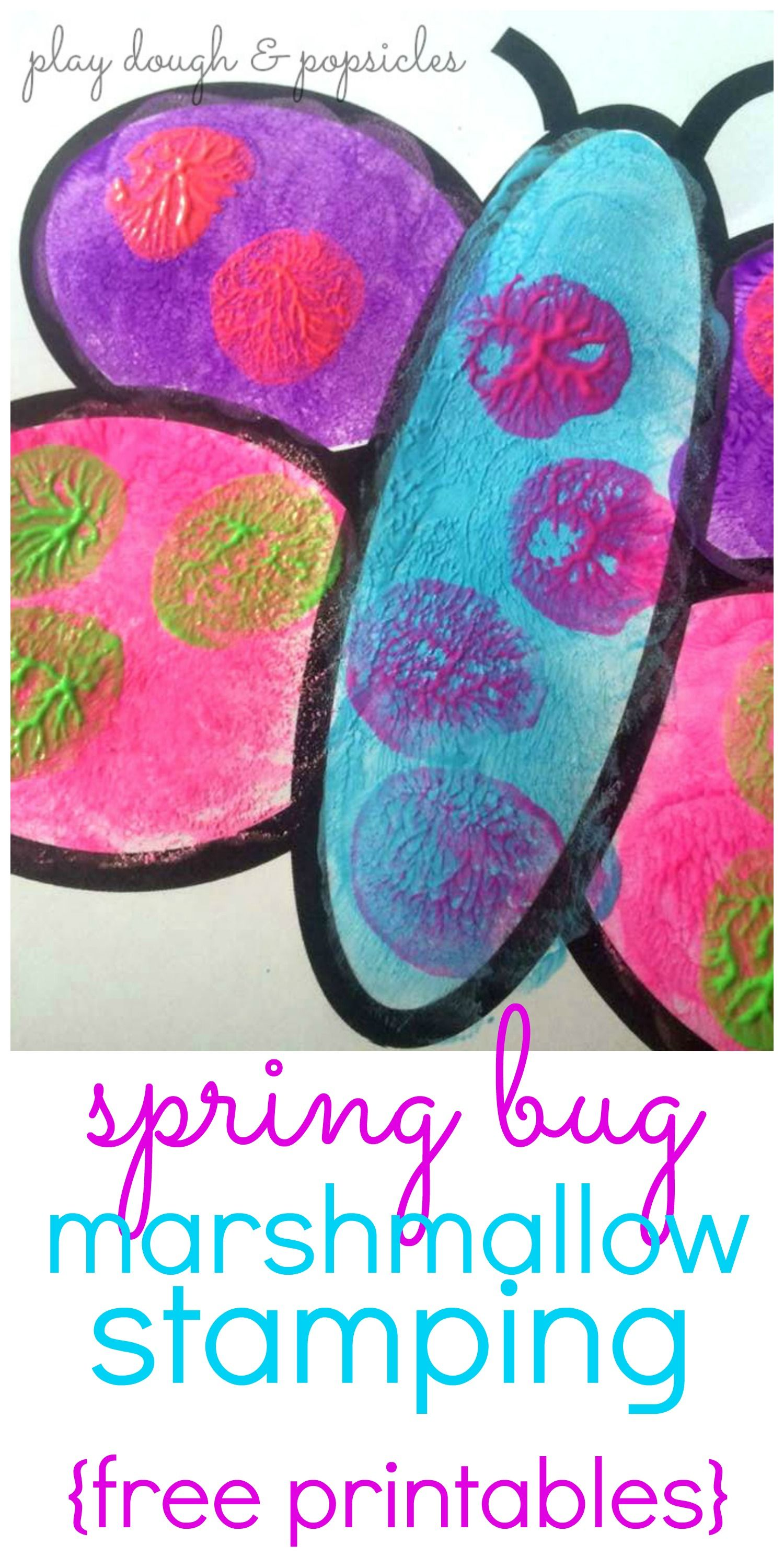 Spring Bug Marshmallow Stamping from Play Dough & Popsicles   Insect ...