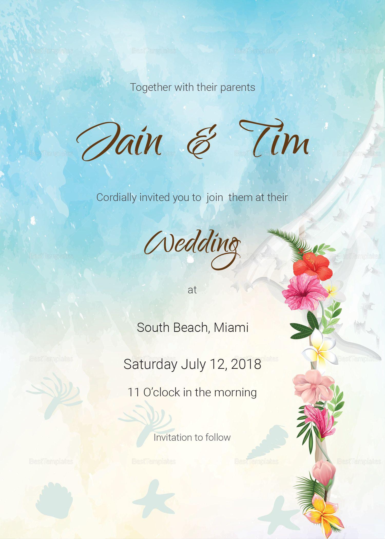 Beach Wedding Invitation Card Template Beach Wedding Invitations Wedding Invitation Card Design Wedding Invitation Templates