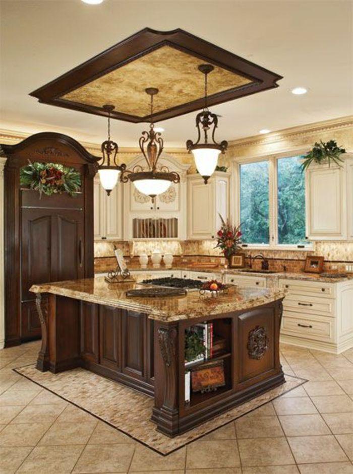 Bardecuisineenboismassifmeublecuisineboisbrutfoncé - Table en bois massif brut pour idees de deco de cuisine