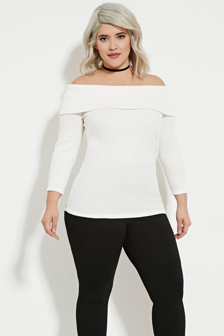 a219f5472ebbf Plus Size Off-the-Shoulder Jumper