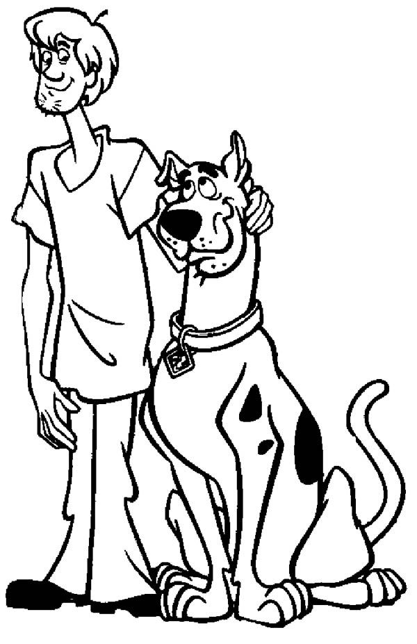 scooby doo shaggy and scooby doo are two best friend coloring page