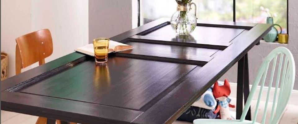 Comment transformer une porte en un bureau table salle - Transformer une armoire en bureau ...