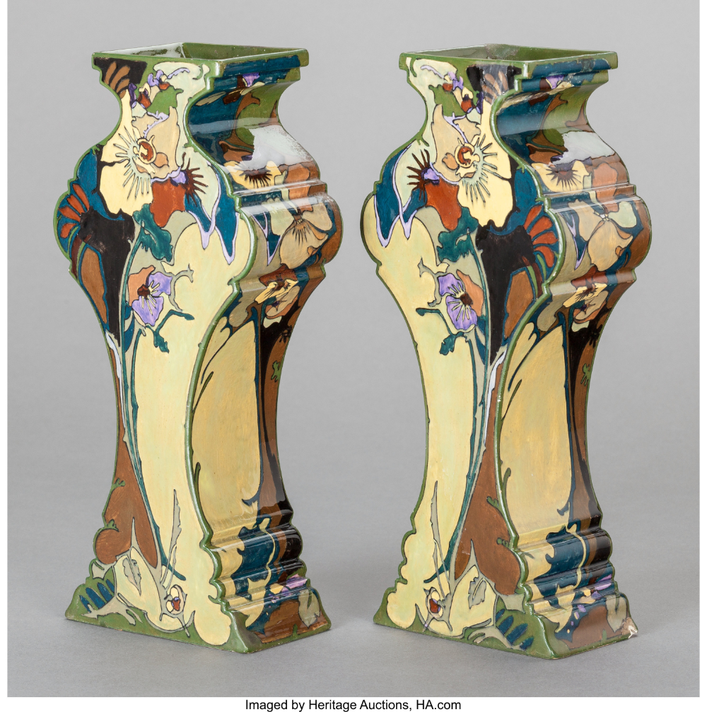 A Pair Of Dutch Painted Earthenware Vases Rozenburg Pottery And Porcelain Factory The Hague Netherlands Circa 1900 In 2020 Dutch Ceramic Pottery Art Ceramic Art