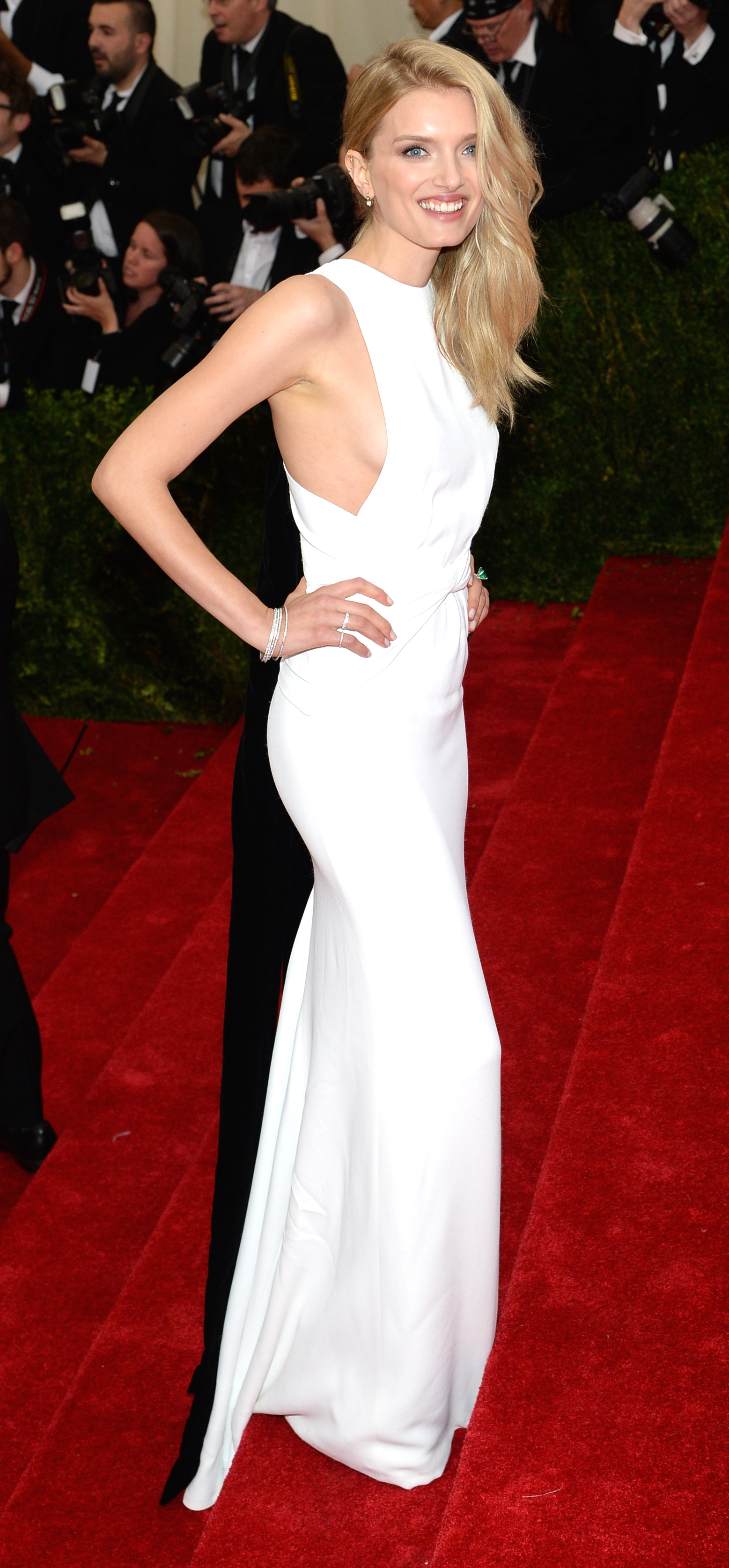 British model lily donaldson wearing a white double silk wrapped