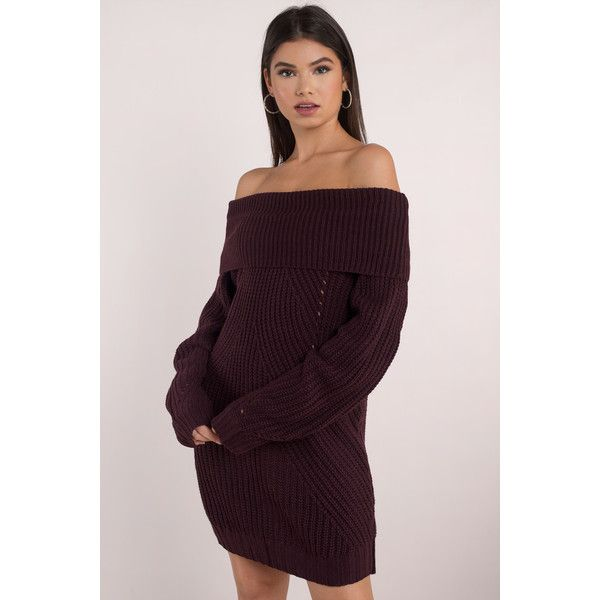 a69b38ab8e Tobi Nikki Off Shoulder Sweater Dress ( 31) ❤ liked on Polyvore featuring  dresses