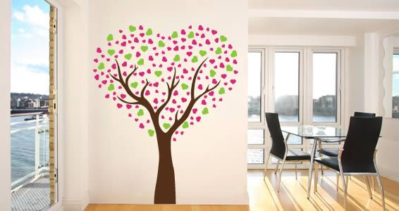 Tri color love tree decal customize this vinyl stick ons by choosing the color