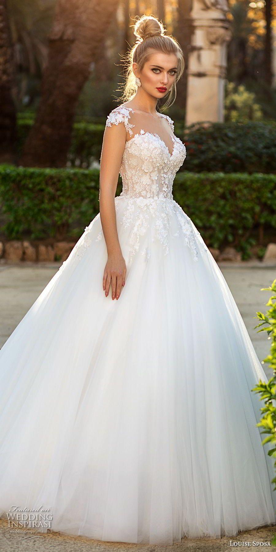 Louise sposa bridal cap sleeves illusion bateau sweetheart