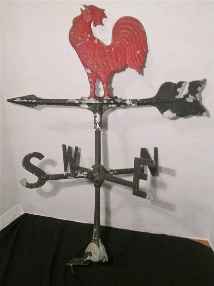 Vintage Country Decor Metal Red Rooster Weathervane Old Barn Weathervane Old Barn Rooster Decor Vintage Country
