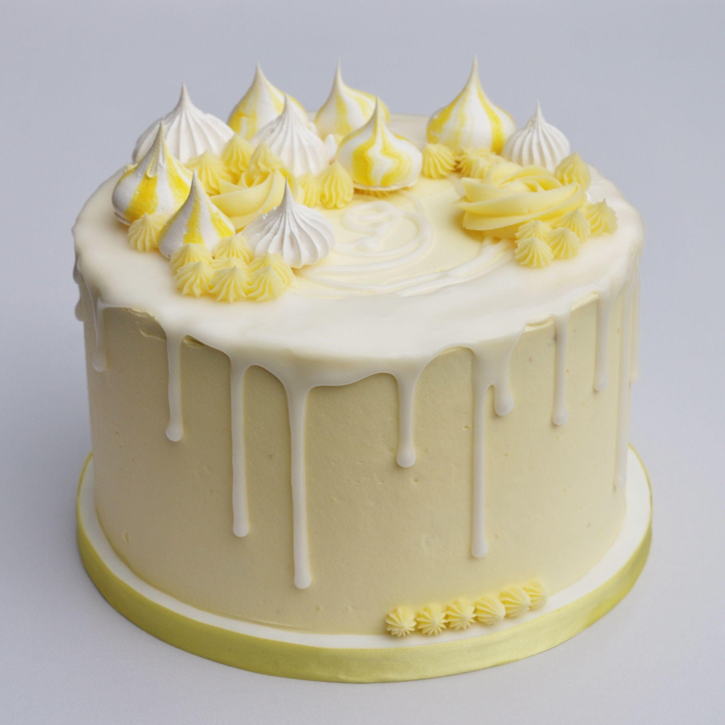 Lemon Meringue Drip Cake With Images Lemon Birthday Cakes