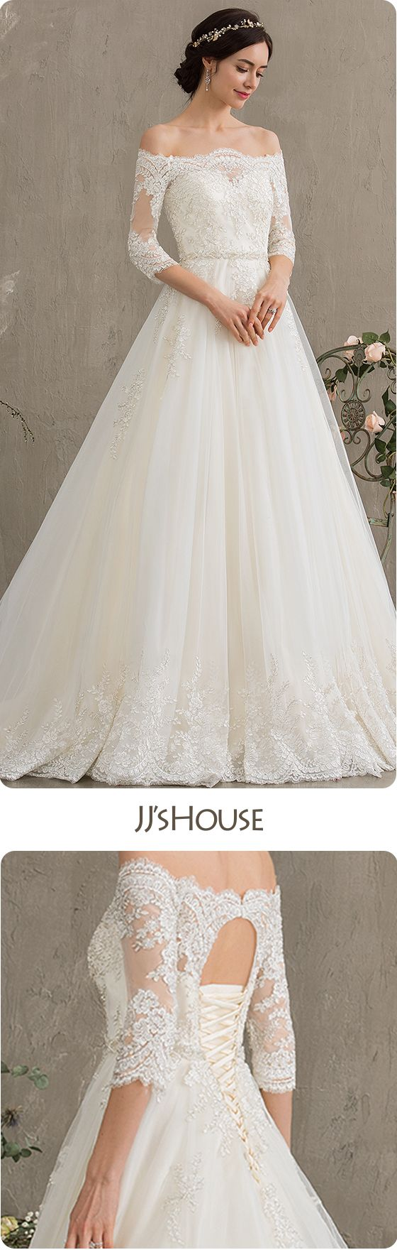 a9a305c4 Ball-Gown/Princess Off-the-Shoulder Court Train Tulle Wedding Dress With