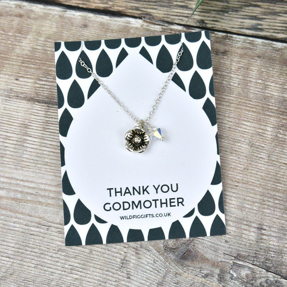 Flower crystal charm necklace birthday gift for