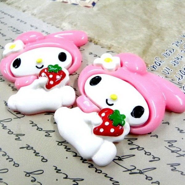 UPICK My Melody Strawberry Pink BIG Resin Flatback Phone Craft Decoration B1635