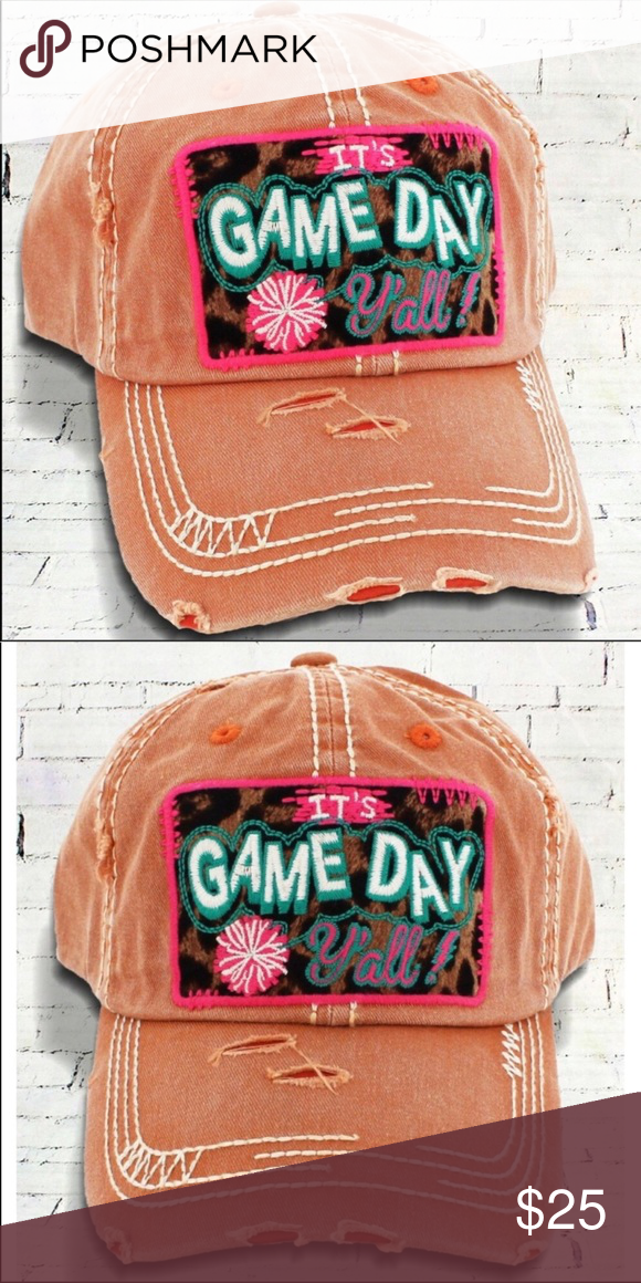 "⚡ 🆕Distressed Rust ""It s Game Day Y all"" Baseball This cap is the ... 953830ea2a8b"