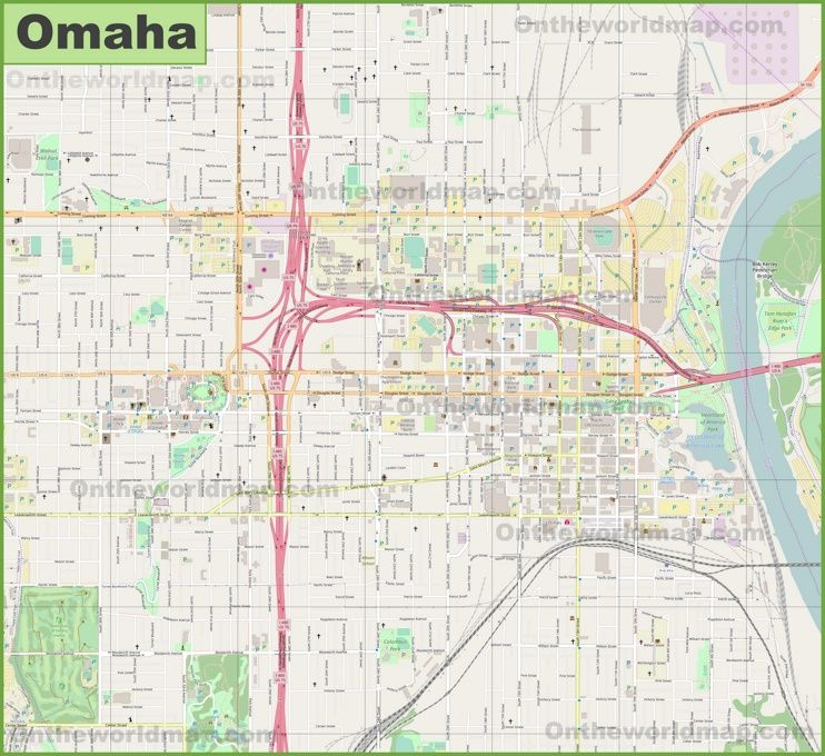 Large detailed map of Omaha Maps Pinterest Usa cities and City