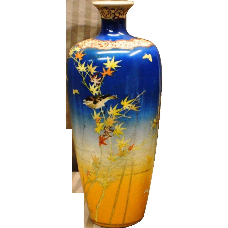 Antique japanese 12 tall satsuma gosu blue vase from the pottery antique japanese reviewsmspy