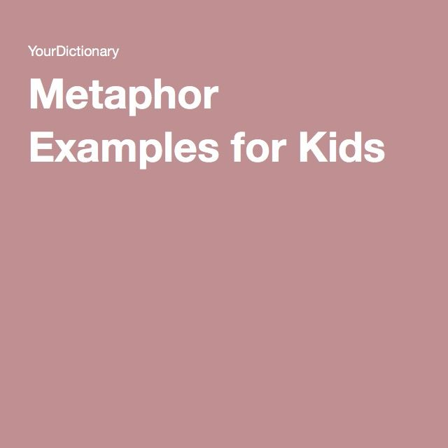 Metaphor Examples For Kids Language Arts Homeschool And Language