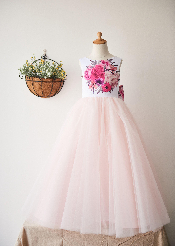 Printed satin blush pink tulle v back floor length wedding flower
