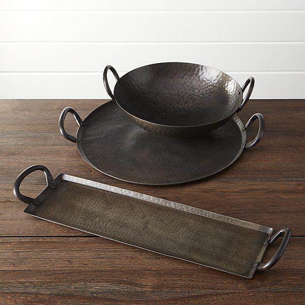 Feast Rectangular Hammered Iron Serving Platter Dining Room Iron