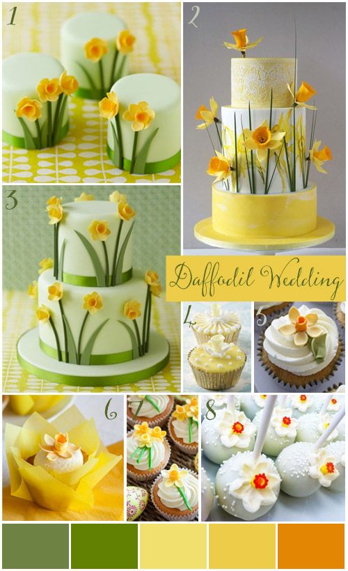 Spring Daffodil Wedding cakes, cupcakes and cake pops. | Wedding ...